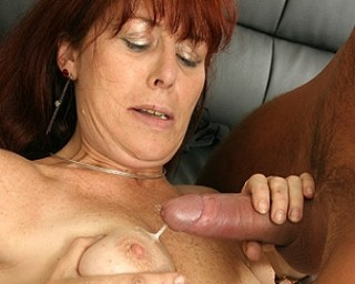 Spray your jizz all over her mature tits